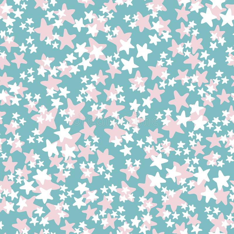 Vector seamless pattern with white and pink stars on turquoise background. Fun ditsy star print, constellations and. Twinkle lights. Concept of astrology and royalty free illustration