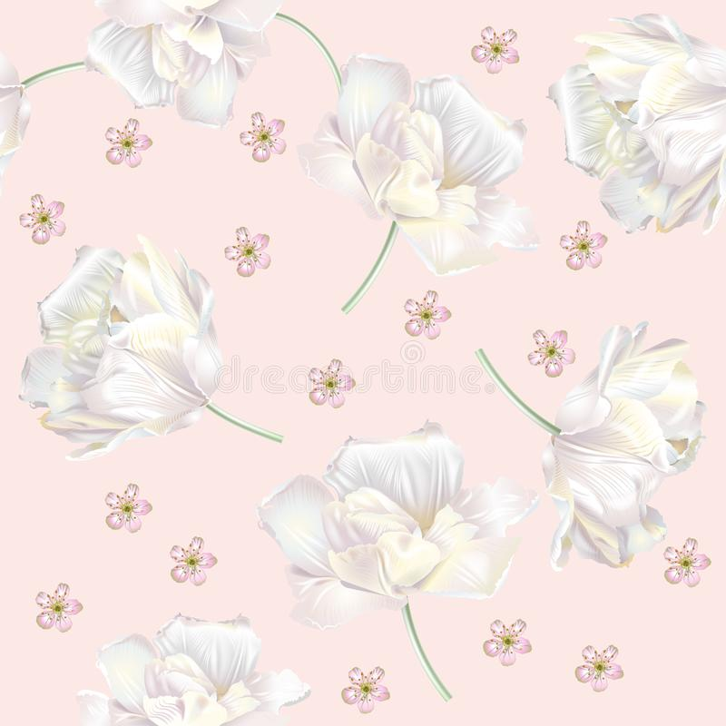 Tulip pattern pink. Vector seamless pattern with white tulip flowers on pink background. Romantic background design for natural cosmetics, perfume, women vector illustration