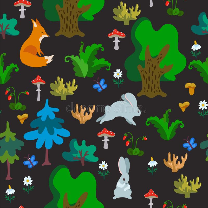 Vector seamless pattern with wild animals in forest. Hand drawn texture with cute cartoon characters, trees and other natural vector illustration