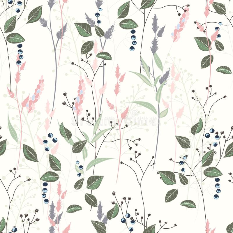Vector seamless pattern with wild flowers, herbs and grasses. royalty free illustration