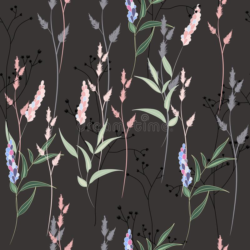 Vector seamless pattern with wild lavender flowers, herbs and grasses. royalty free illustration