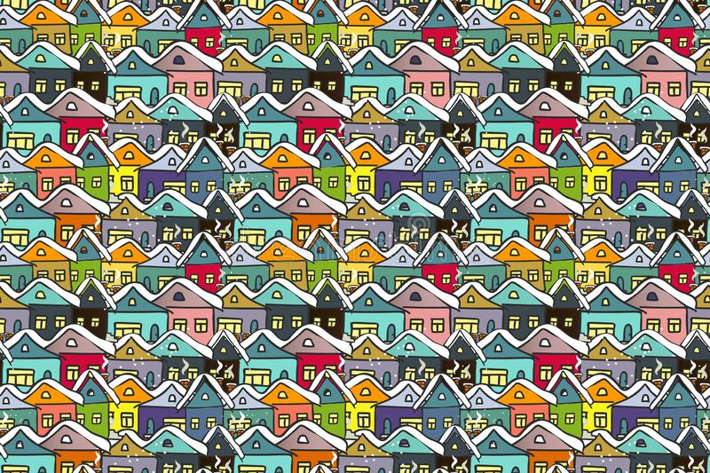 Winter cityscape. Many hand drawn multicolored houses. stock illustration