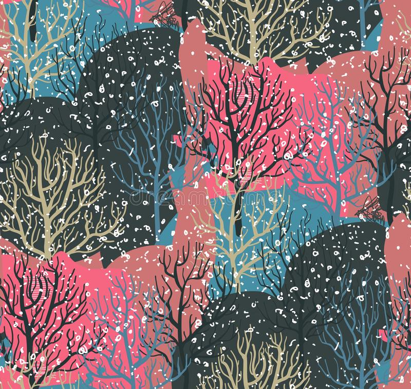 Vector seamless pattern with winter forest stock illustration