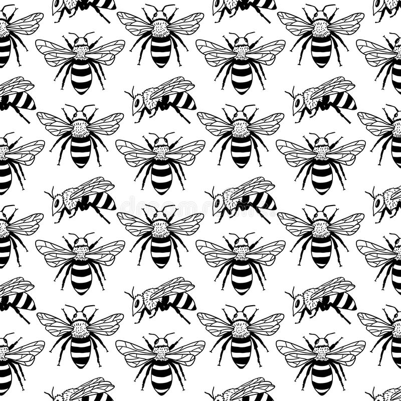 Free Vector Seamless Pattern With Bees, Leaves And Flowers. Black And Yellow Texture. Stock Photo - 98744040