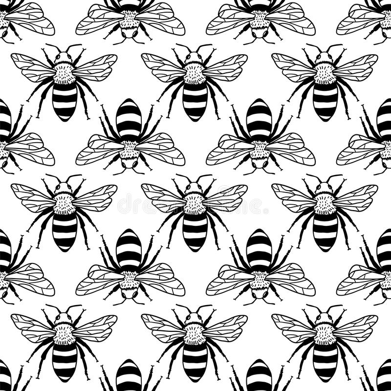 Free Vector Seamless Pattern With Bees, Leaves And Flowers. Black And Yellow Texture. Royalty Free Stock Photos - 98744068