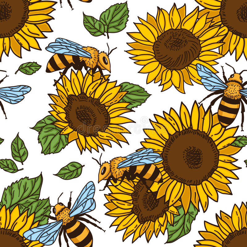 Free Vector Seamless Pattern With Bees, Leaves And Flowers. Black And Yellow Texture. Stock Photo - 98881690