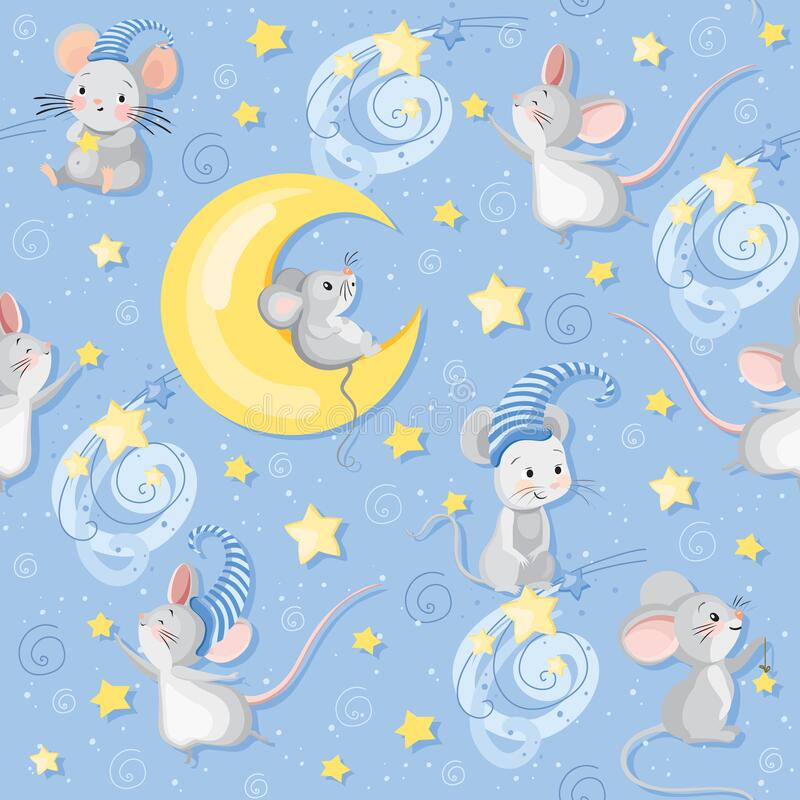 Free Vector Seamless Pattern With Cute Cartoon Mice In Night Caps With Moon And Stars On The Blue Background Royalty Free Stock Image - 176178176