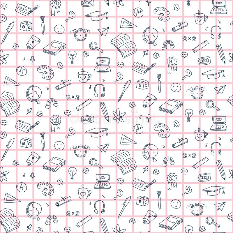 Free Vector Seamless Pattern With Education Back To School Icons. Doodle Student Background. Royalty Free Stock Images - 180812609