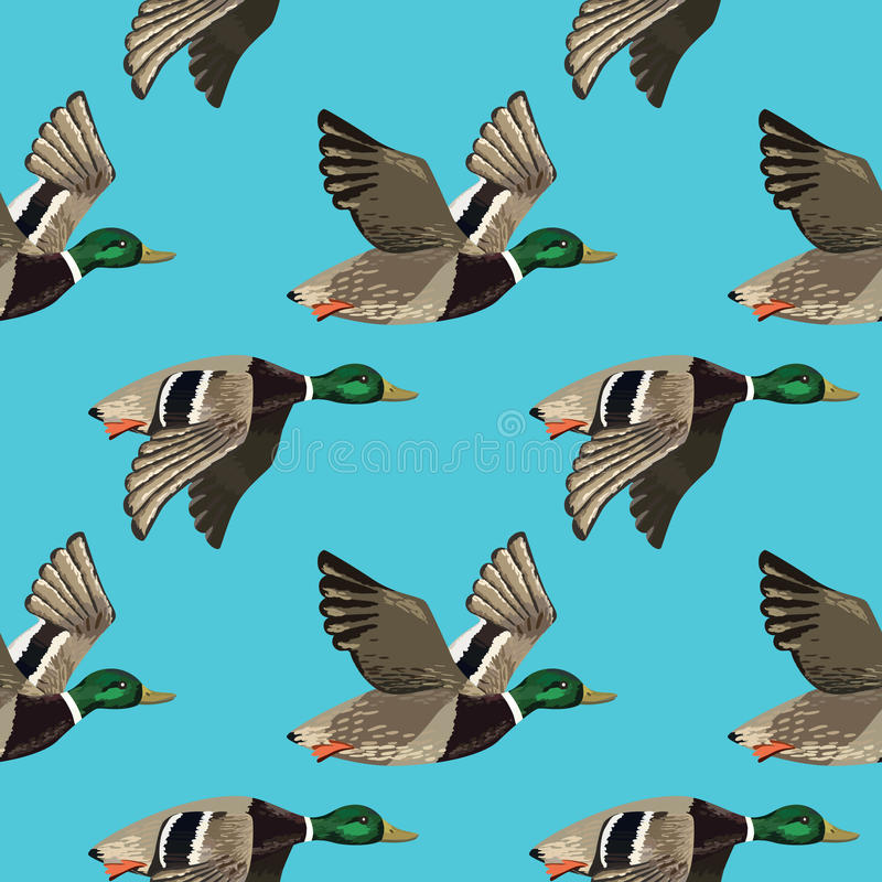Free Vector Seamless Pattern With Flying Ducks Stock Photography - 51617542