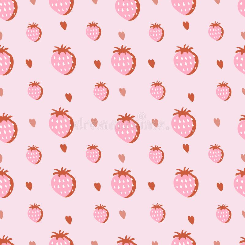 Free Vector Seamless Pattern With Hand Drawn Strawberries And Heartrs On A Pink Background. Royalty Free Stock Image - 220813506