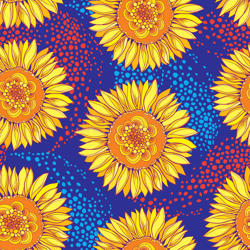 Free Vector Seamless Pattern With Outline Open Sunflower Or Helianthus Flower In Yellow And Orange On The Blue Background. Royalty Free Stock Photos - 94321488