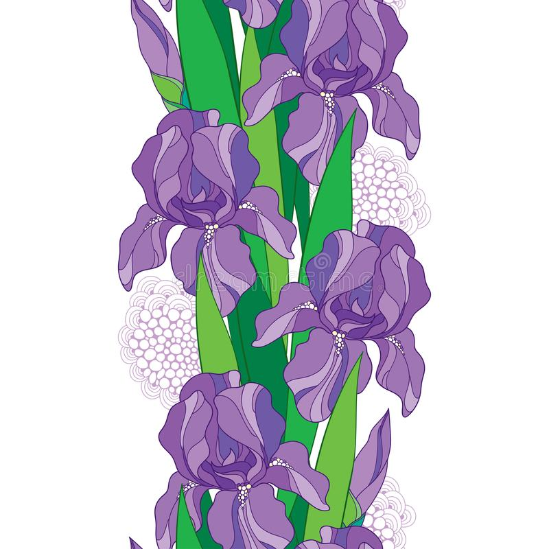 Free Vector Seamless Pattern With Outline Pastel Purple Iris Flower, Bud And Green Leaf On The White Background. Floral Background. Royalty Free Stock Photography - 117234737