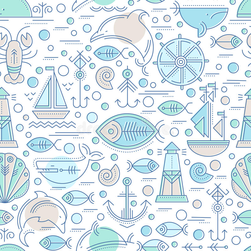 Free Vector Seamless Pattern With Outlined Seafaring And Nautical Signs Royalty Free Stock Image - 78161686