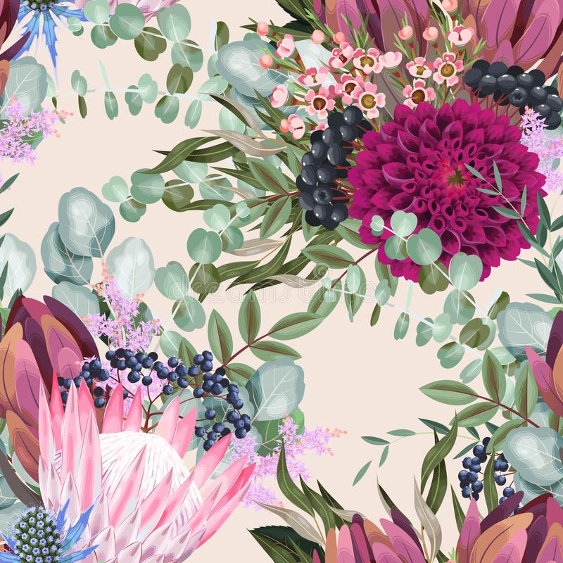 Free Vector Seamless Pattern With Protea And Greenery Stock Photos - 154705303