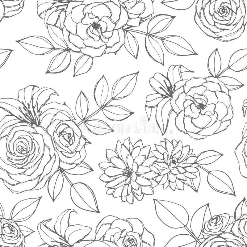 Free Vector Seamless Pattern With Rose, Lily, Peony And Chrysanthemum Flowers Line Art On The White Background. Hand Drawn Floral Stock Images - 132817804
