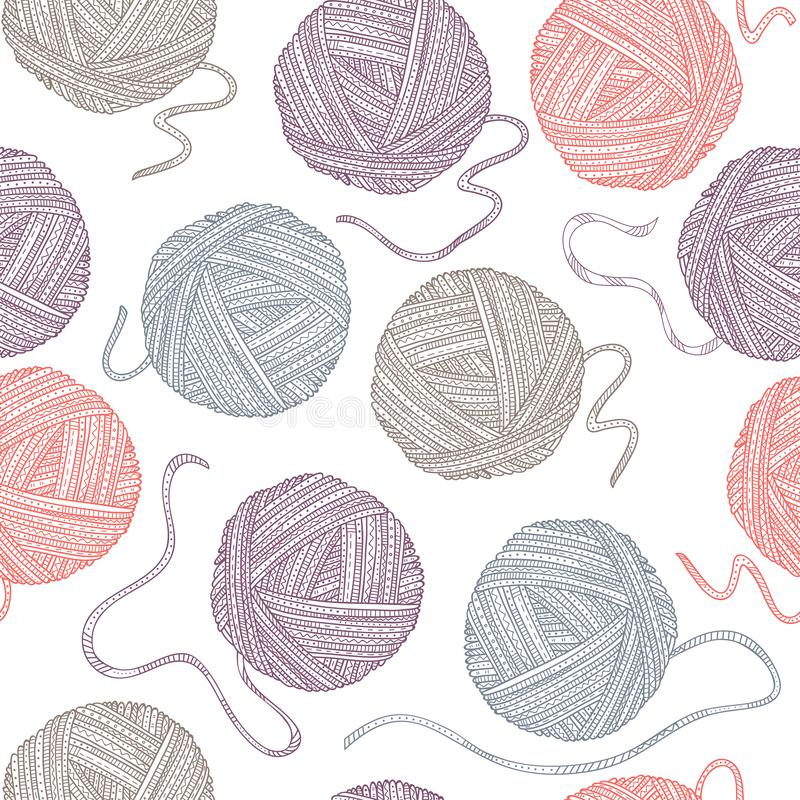 Vector seamless pattern with yarn balls in boho style vector illustration