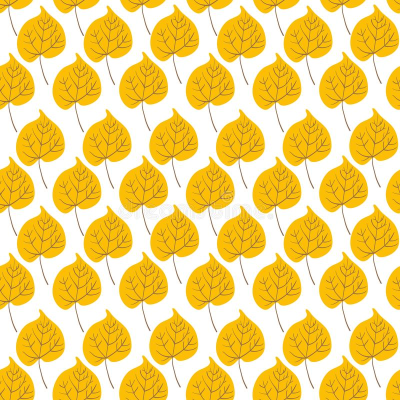 Vector Seamless pattern with yellow aspen leaves. Seamless pattern with aspen leaves on white background. Perfect for wallpaper, gift paper, autumn greeting vector illustration