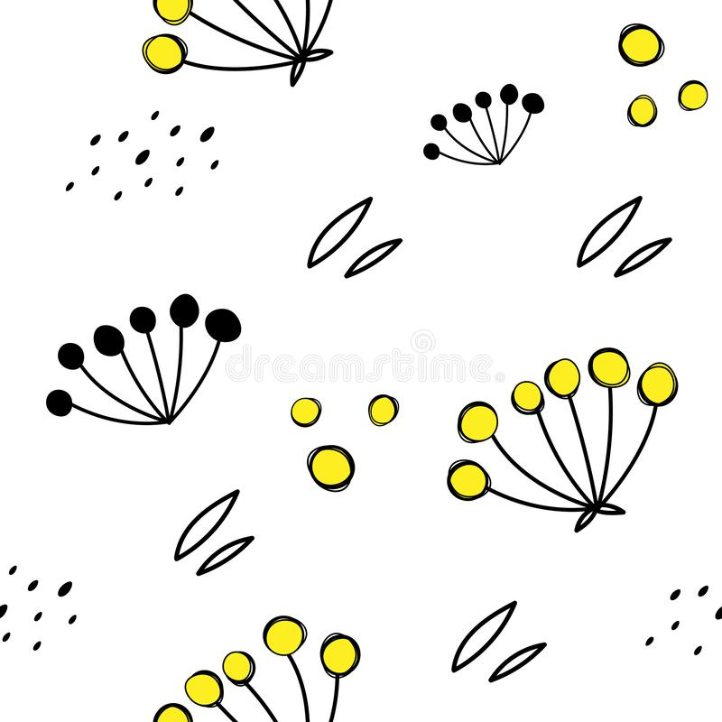Vector seamless pattern with yellow Rowan. Doodle style. royalty free illustration