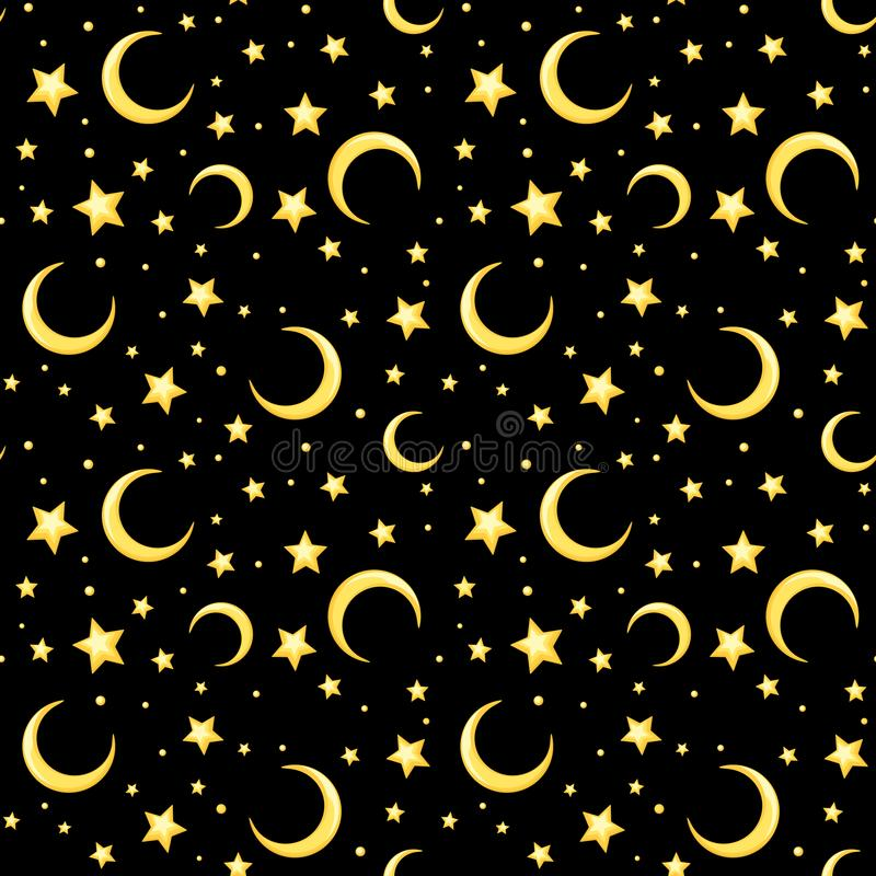 Vector seamless pattern with yellow stars and crescents on black. Vector seamless pattern with yellow stars and crescents on a black background stock illustration