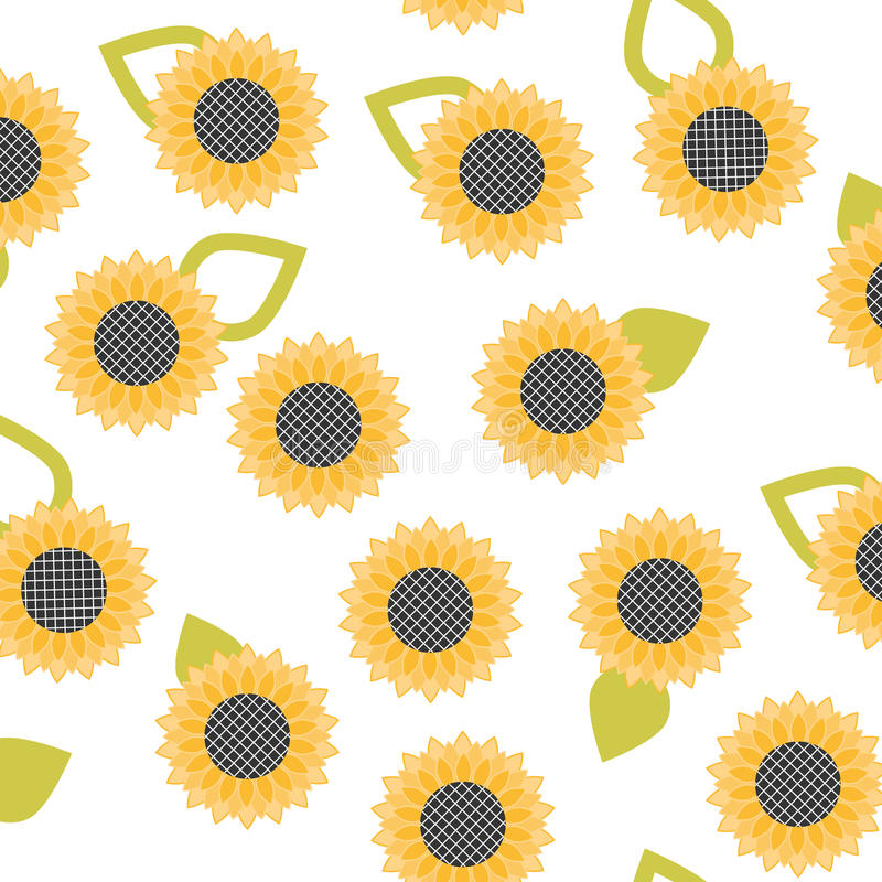 Vector seamless pattern with yellow sunflowers on a white background. stock illustration
