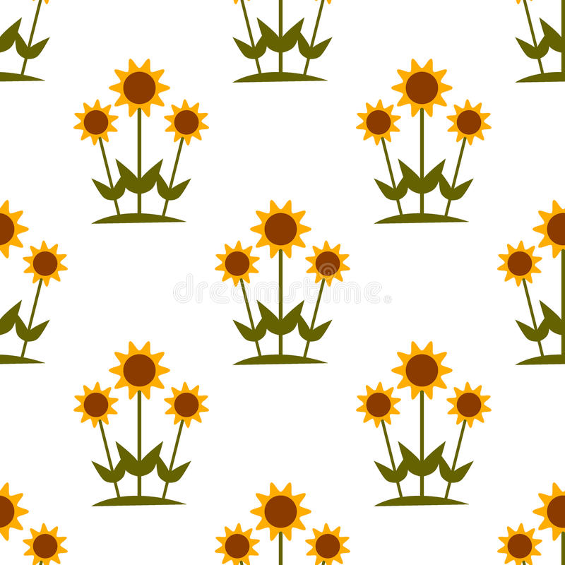 Vector seamless pattern with yellow sunflowers on white background. vector illustration