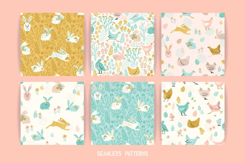 Vector seamless patterns with bunnies and chicken for Easter and other users. Design element royalty free illustration