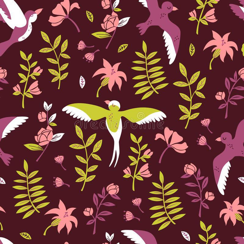 Vector Seamless Patterns of Flowers and Birds in Hand Drawn Doodle Style. vector illustration