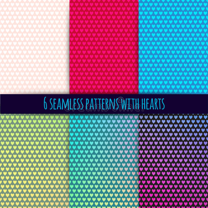 6 vector seamless patterns with hearts. (easy tiling). Can be used for printing onto fabric and paper or scrap booking. Valentines day background for invitation stock illustration