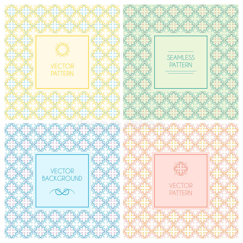 Vector seamless patterns with labels and text royalty free illustration