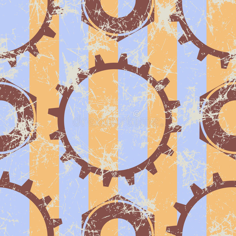 Vector seamless patterns with mechanism of watch. Creative geometric beige grunge backgrounds with gear wheel. vector illustration