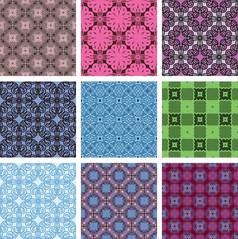 Vector seamless patterns. set royalty free illustration