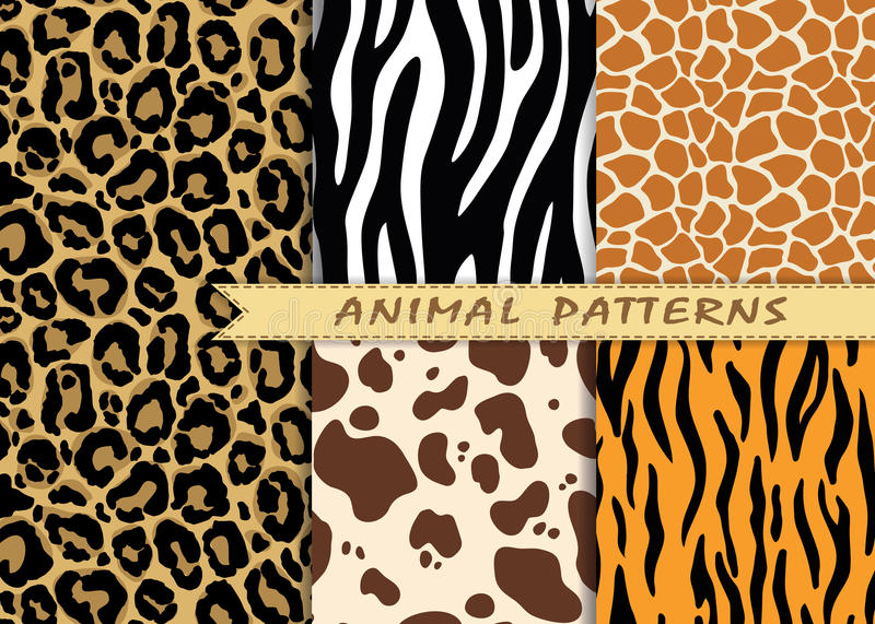 Vector seamless patterns set with animal skin texture. Repeating vector illustration