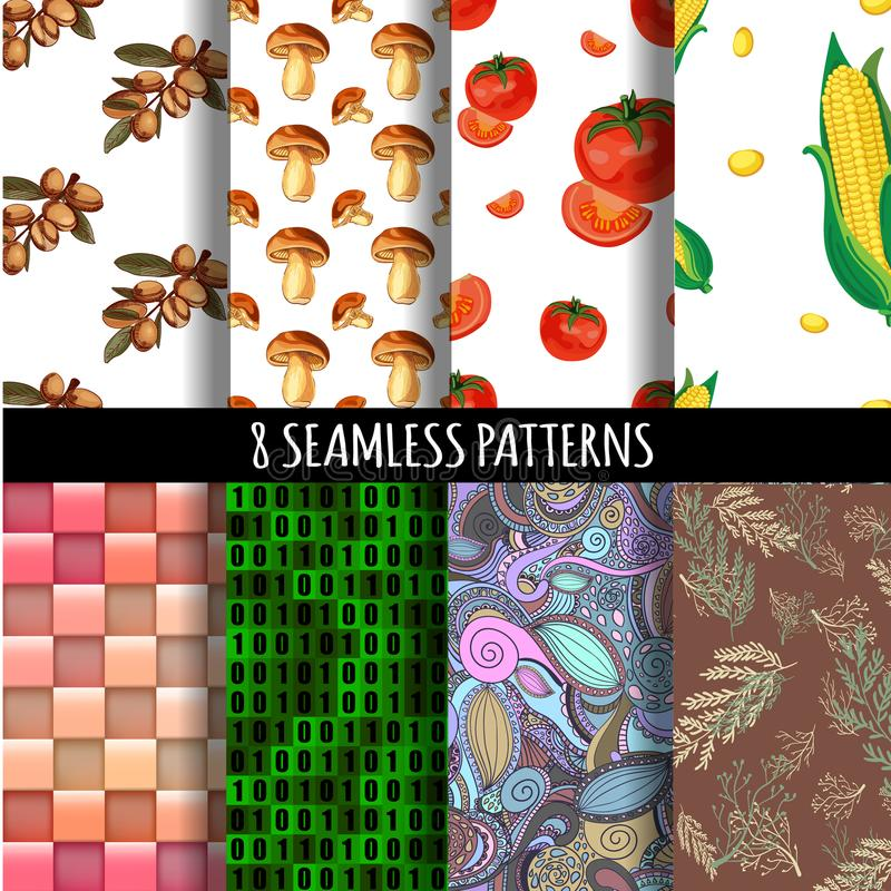VECTOR 8 seamless patterns set vector illustration