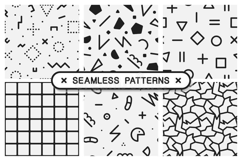 Vector seamless patterns set - memphis design. stock illustration