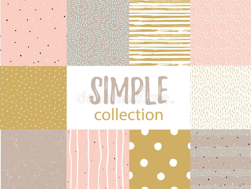 Vector seamless patterns with universal simple textures. Set for fabric, gift wrap and wallpaper. vector illustration