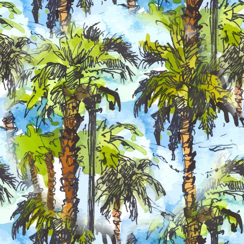 Vector Seamless patternwith tropical palm trees.. Watercolor splash with hand drawn sketch illustration. retro colorful royalty free illustration