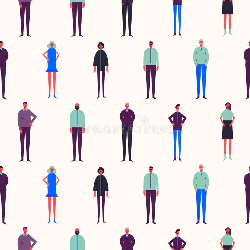 Vector seamless people pattern. Stylized men amd women standing. Background stock illustration