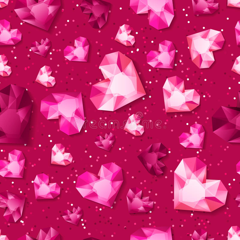 Vector seamless pink glossy background with 3d gold heart diamonds, gems, jewels. royalty free illustration