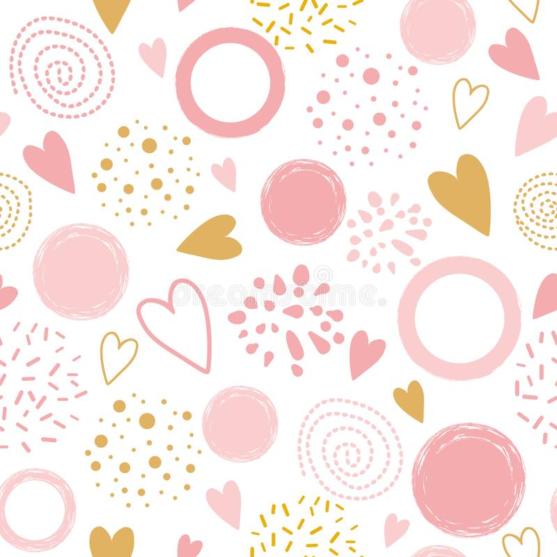 Vector seamless pink pattern heart ornament decorated pink hand drawn round shapes Pyjama print vector illustration