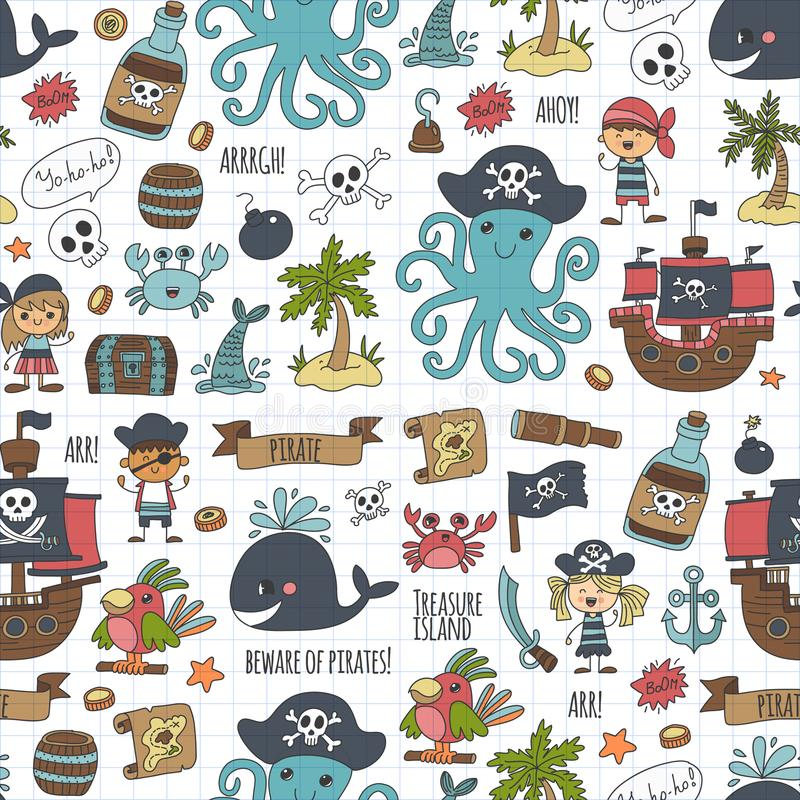 Vector seamless pattern Pirate party for children Kindergarten stock illustration