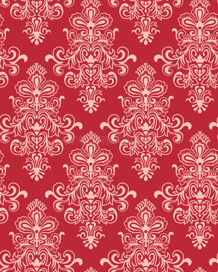 Vector. Seamless Red Classicism Wallpaper. Seamless Red/White Classicism Wallpaper stock illustration