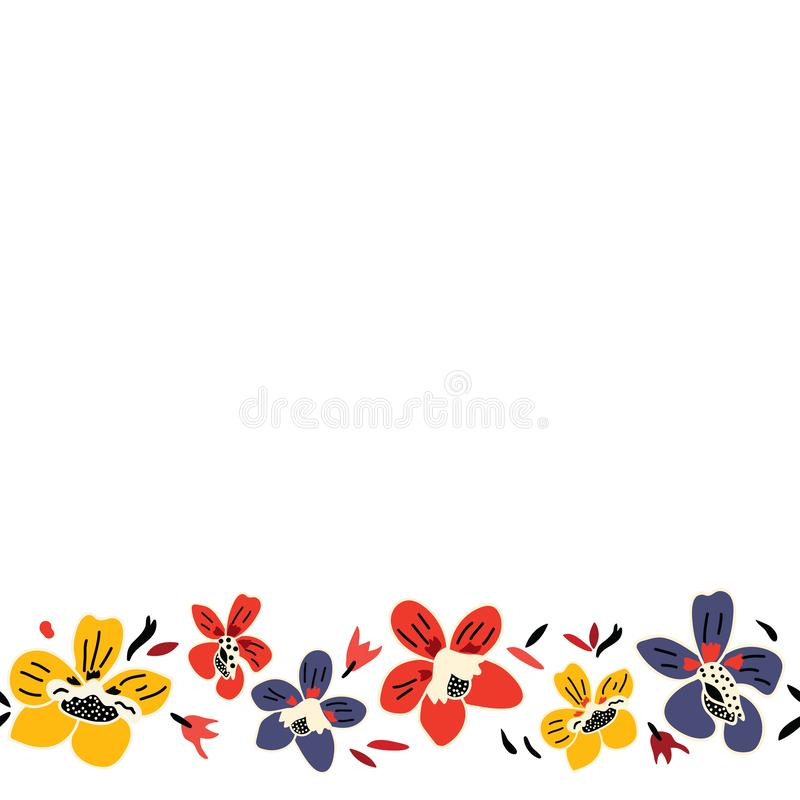Vector seamless repeat colorful floral border pattern with blue, red, and yellow flowers and white background. royalty free illustration