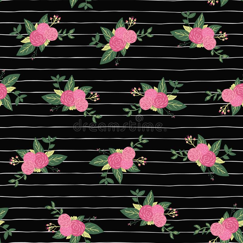 Vector seamless repeat Flower bouquets on black and white stripes pattern background. Pink abstract roses and foilage on hand royalty free illustration