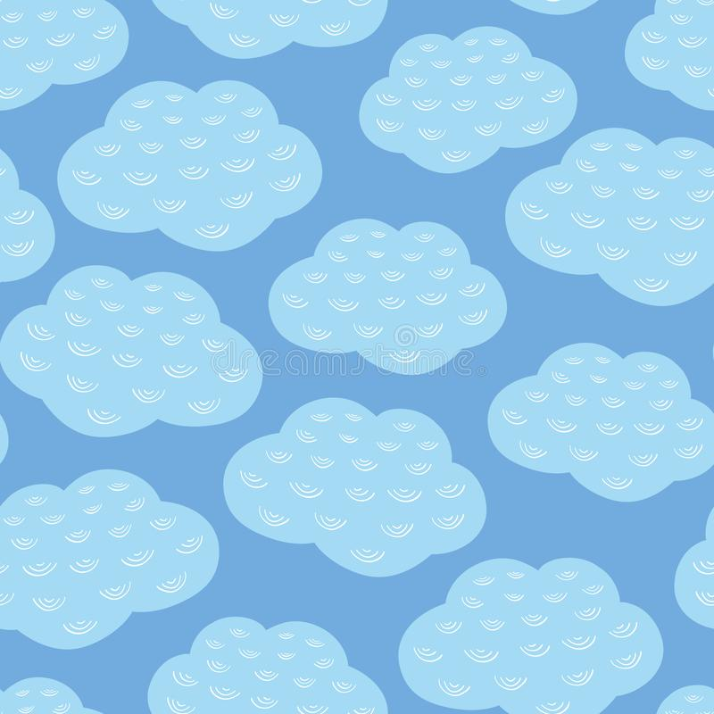 Vector seamless repeat pattern of blue and white clouds and sky. Weather background design. Vector seamless repeat pattern of blue and white clouds and sky stock illustration