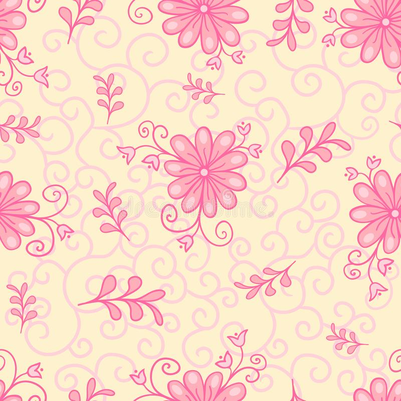 Vector seamless, repeating luxury texture patterns with flowers and leaves. Monochromatic pink. royalty free stock photos