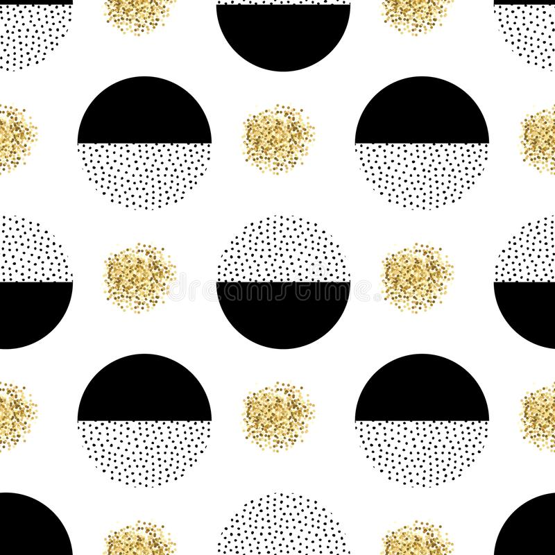Vector seamless retro memphis pattern with round elements royalty free illustration