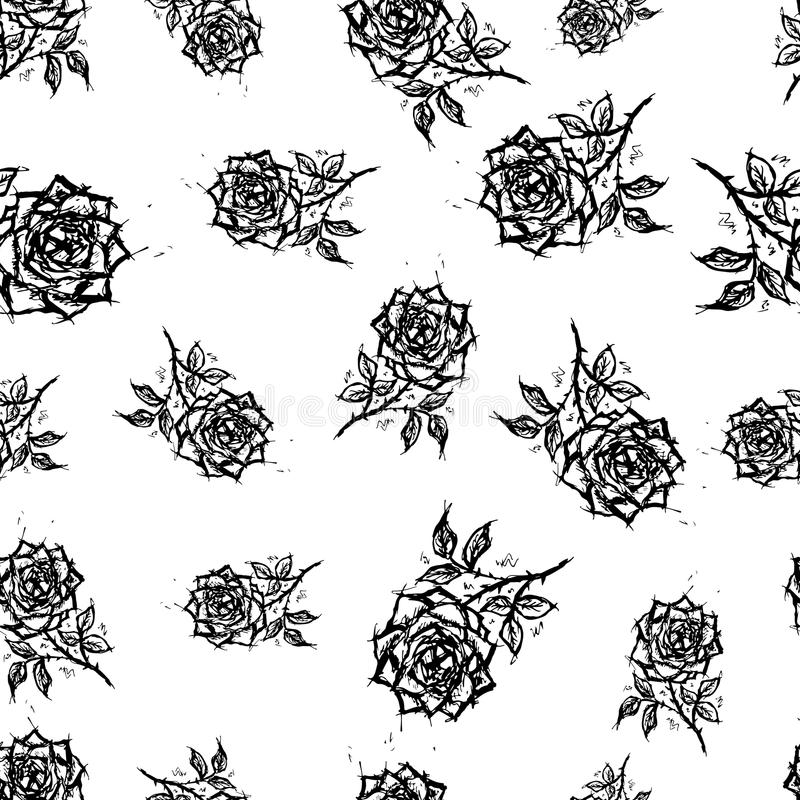 Vector seamless retro pattern, flowers rose. Can be used for web page background, pattern fills, wallpaper, surface stock illustration
