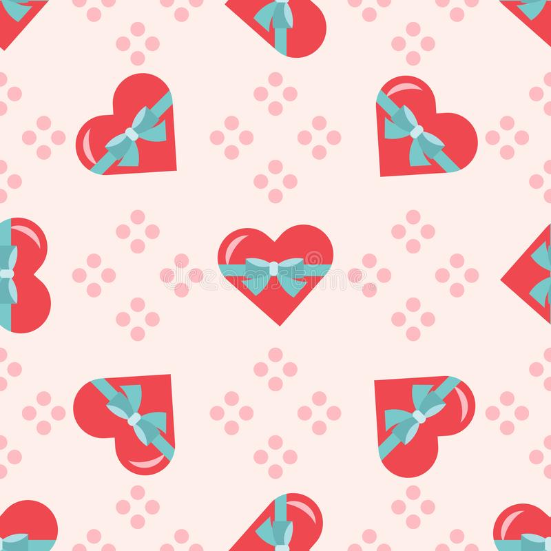 Vector seamless romantic pattern with red hearts, blue bow, pink dotes on light pink background royalty free illustration
