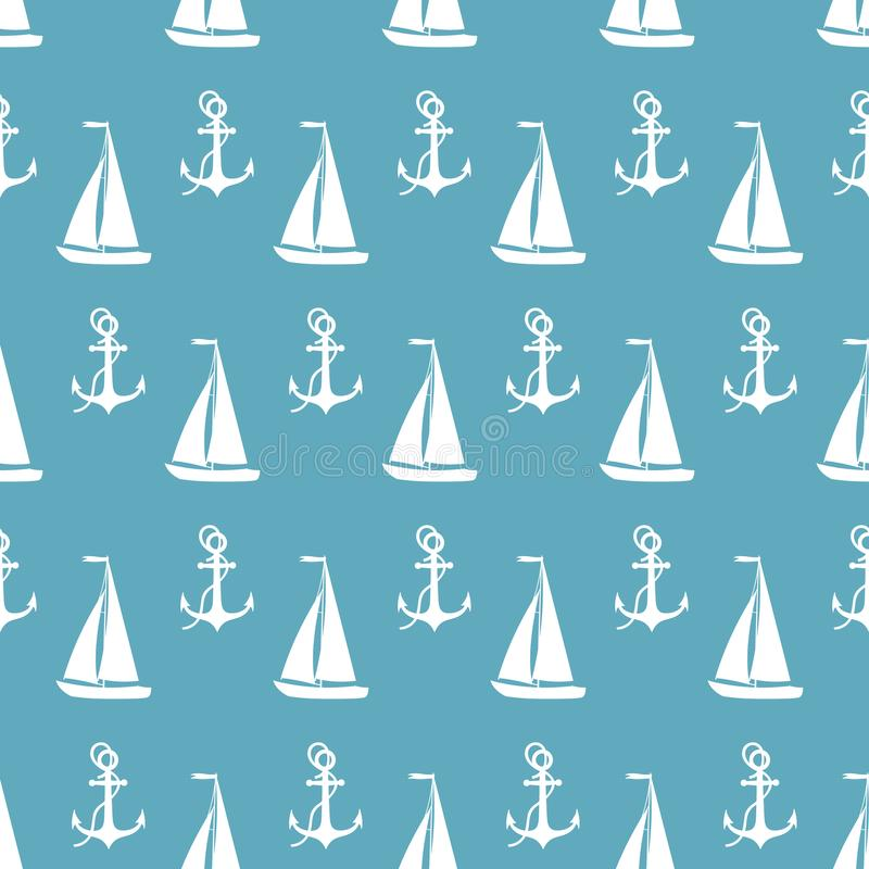 vector seamless sea pattern with ship royalty free illustration