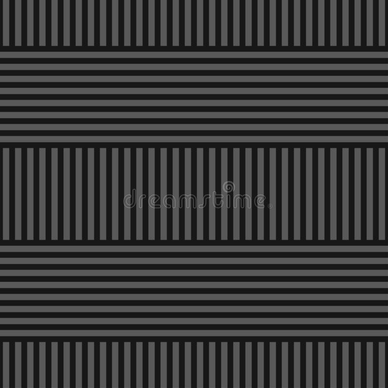 Vector seamless simple geometric pattern - dark gray striped texture. Endless linear background. Creative design. stock illustration